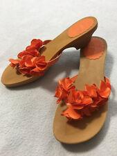 Gymboree Tropical Bloom Big Girls 4 Orange Flower Flip Flop Heels Shoes