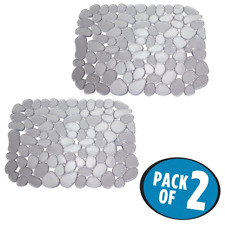 mDesign Pebbles Kitchen Sink Protector Mat - Pack of 2, Graphite