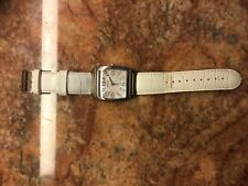"Honora Mother of Pearl Watch White Leather Strap Stainless Steel EUC 9-1/4"" L"