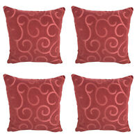 "Pack of 4 - Coral Red Cushion Covers / Abstract Print - 17 x 17"" / 43 x 43 cm"