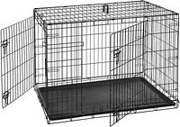"42"" Large Pet Dog Cat Crate DOUBLE DOOR Kennel Cage pan Folding Metal Playpen"