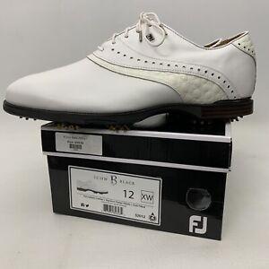 FootJoy FJ Icon Black Golf Shoes Size 12 XW White Calfskin 52012