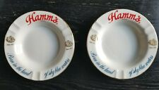 """2 Vintage Hamm's Beer Ashtray's 6.5"""" """"Born In The Land of Sky Blue Waters�"""