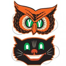 Vintage Halloween Owl & Cat Masks Party Favors Halloween Party Decorations