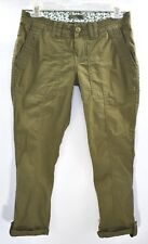 Prana Breathe Womens Olive Green Slim Stretch Hiking Pants Roll Up Hem Sz 0