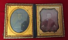 ANTIQUE 19TH CENTURY EMBOSSED LEATHER UNION CASE GILT EDGES DOUBLE AMBROTYPES