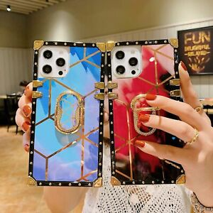 For iPhone 11 12 Pro Max XS XR 7Plus Ring Stand Case Luxury Square Leather Cover