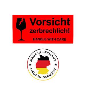 10 Aufkleber Etiketten für VORSICHT ZERBRECHLICH Vorsicht Glas Sticker