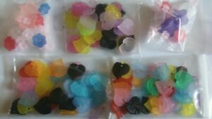 Jewelry Making Beads acrylic flowers, petals frosted  Destash variety lot #12