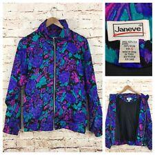 Vintage Janeve Silk Jacket Print Mulitcolor Bomber Style Retro Small