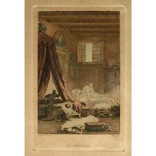 "Antique French Print ""Le Berceau"" (The Cradle)by Milius after Fragonard, 19th c"
