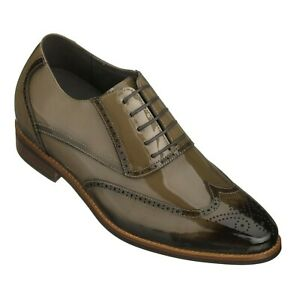 """CALTO Men's Invisible 3"""" Height Increasing Elevator Patent Leather Wing Tip Shoe"""