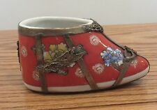 Vintage Chinese porcelain bound lotus foot shoe metal overlay Qing Dynasty mark