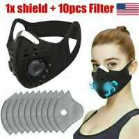 Outdoor Sports Scarf Neck Warmer Headband Face Mask with Filter Black USA
