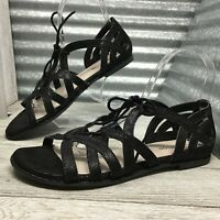 Reaction Kenneth Cole Women's Gladiator Sandel Black Sheen Flats Size 7.5