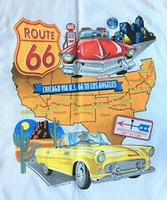 Vintage 1990s Route 66 Short Sleeve White T-Shirt Size XL Old cars Route Map NWT