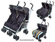 KIDS KARGO DOUBLE TWIN PUSHCHAIR  BABY CHILD BUGGY STROLLER NEWBORN BLACK BLUE,