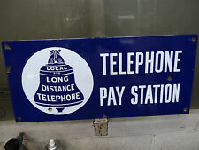 NICE OLD TELEPHONE DAY STATION SIGN PORCELAIN