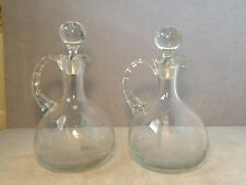 Pair Vintage Nude Etched Decanters Signed