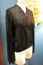 Jimmy Choo For H&M! GLAM Black Sequin Bomber Zip Cardigan Sweater M
