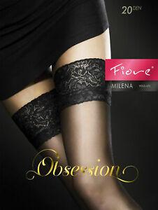 Fiore Milena Sexy Sensuous Sheer Seam Lace Matte Finish Hold-Ups Stocking 20 Den