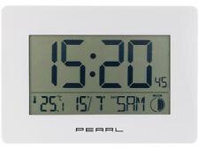 Funkuhr Funkwanduhr Wanduhr LCD Uhr funkgesteuert weiß Temperatur Datum Mond