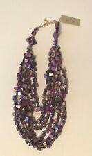 Barse Brand Genuine Shell Multi Color and Multi Strand Statement Necklace Purple