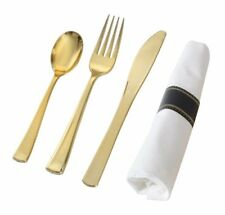600 Piece Gold Disposable Like Real Cutlery: 200 Spoons : 200 Forks : 200 Knives