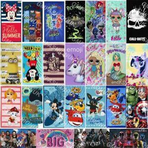 NEW Official Character Novelty Cotton Beach Towel Boys Girls Kids Gift Disney UK