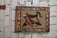 Gemälde Wand Bild Öl Handarbeit Bali Afrika Massai Bunt Trommler 40x30 cm