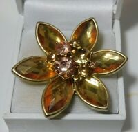 Talbots unsigned Champagne Yellow Marquise Rhinestone Daisy Flower Brooch