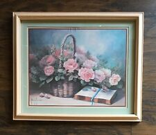 Home Interiors Homco Margie Morrow Bible Basket Pink Roses Flowers
