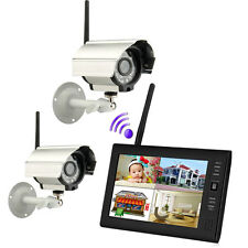 "2.4GHZ Wireless 7""TFT LCD 4CH Quad DVR Night Vision Outdoor CCTV Security Camera"