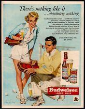 1950 Budweiser Beer - Sexy Woman - Beer - Man - Tennis - Sports Vintage Ad