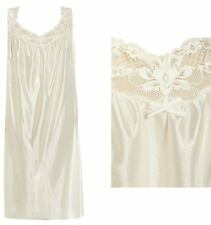 Ladies Satin Chemise White Lace Weave Nightdress Nightie Plunge Neck PLUS Size