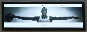 MICHAEL JORDAN 'WINGS' Chicago Bulls NBA Basketball Small Panoramic Print Framed