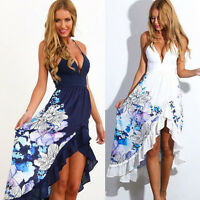 Sexy Women Summer Boho Long Maxi Evening Party Dress Beach Dresses Sundress NEW