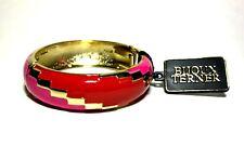 Bijoux Terner Clamper Bracelet Fuchsia Pink Enamel Hinged w/ Gold Trim