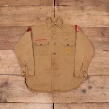 Womens Vintage Boy Scouts of America BSA 1940s Brown Twill Shirt Small 8 RX 8350
