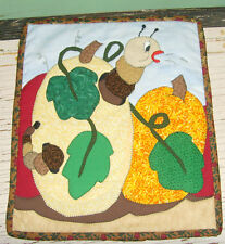 Fall theme quilt pair animal novelty humor set of 2 tiny quilts Turkey Cow gourd