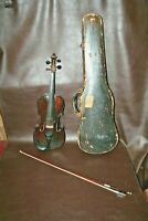 "Antique ""Stradiuarius Cremonensis Faciebad Anno 1713"" Wood Violin w/ Bow in Case"
