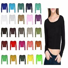 Ladies Soft Stretch Short Plain Long Sleeve Crew Neck TShirt Women Mini Crop Top