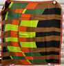 Vera All Silk Scarf, Greens, Lime, Orange, Brown. Black, Vintage 1970's