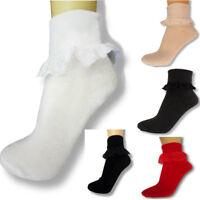Ladies Women Frilly Lace Ankle Socks Fancy Dress Vintage Rock N Roll Socks