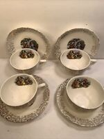 4 VINTAGE CITRO CUP AND SAUCER SETS  ACKRON OHIO COURTING VICTORIAN COUPLE