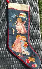 Steinwinder Angel Children Cherub Wool Velvet Christmas Stocking Navy Blue Red