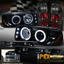 2004-2006 GMC Sierra Projector Shiny Black Headlights +Signals+ Smoke Tail Light