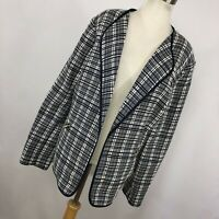 Jones New York 18W Jacket Navy Blue White Checkered Open Front Pockets Woman R3