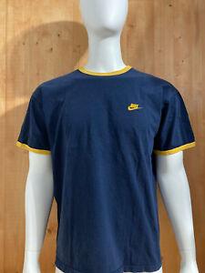 NIKE SWOOSH EMBROIDERED LOGO Adult Mens Men T-Shirt Tee Shirt L Lrg Large Blue