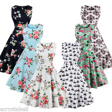 Women 1950s Vintage Christmas Floral Rockabilly Cocktail Party Swing Dress Plus
